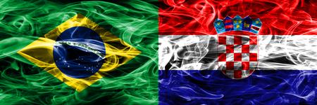 Brazil vs Croatia smoke flags placed side by side 版權商用圖片