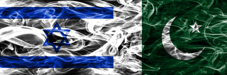 Israel vs Pakistan smoke flags placed side by side. Israeli and Pakistan flag together