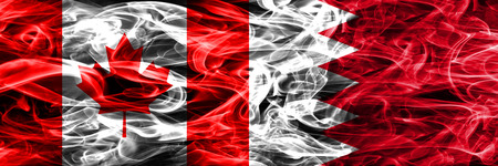 Canada vs Bahrain smoke flags placed side by side. Canadian and Bahrain flag together