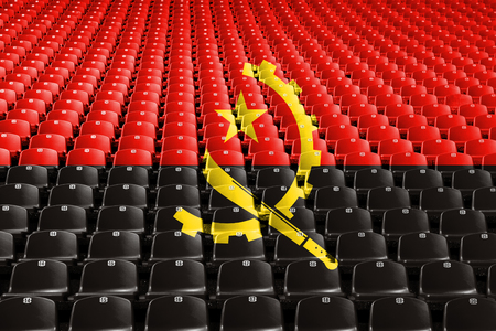 Angola flag stadium seats. Sports competition concept Stock Photo