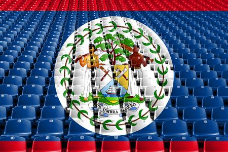 Belize flag stadium seats. Sports competition concept Stock Photo