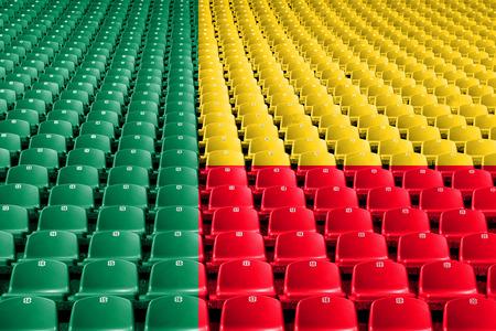 Benin flag stadium seats. Sports competition concept