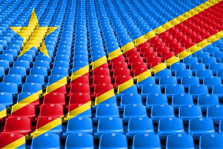 Democratic Republic of the Congo flag stadium seats. Sports competition concept