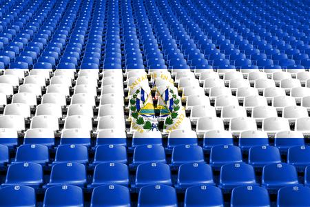 El Salvador flag stadium seats. Sports competition concept