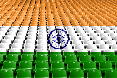 India flag stadium seats. Sports competition concept