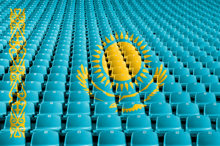 Kazakhstan flag stadium seats. Sports competition concept