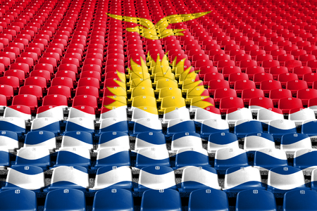 Kiribati flag stadium seats. Sports competition concept