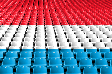 Luxembourg flag stadium seats. Sports competition concept