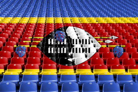 Swaziland flag stadium seats. Sports competition concept