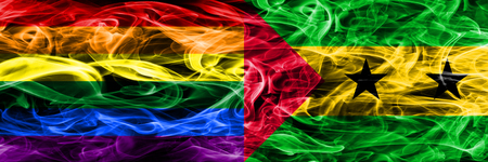Gay vs Sao Tome and Principe smoke flags placed side by side. Thick colored silky smoke flags of Gay and Sao Tome and Principe Banco de Imagens