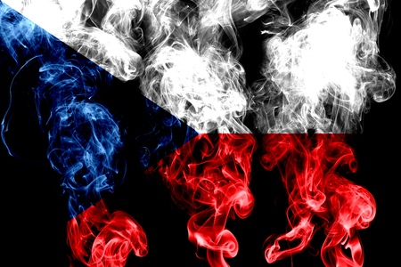 National flag of Czech Republic made from colored smoke isolated on black background