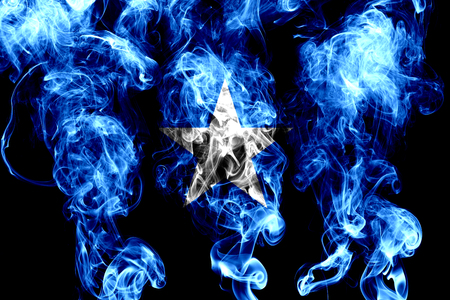 National flag of Somalia made from colored smoke isolated on black background