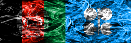 Afghanistan vs OPEC smoke flags placed side by side. Thick colored silky smoke flags of Afghani and OPEC