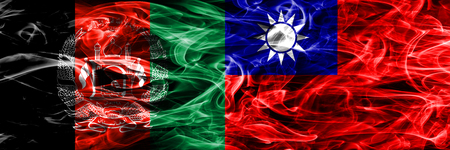 Afghanistan vs Taiwan smoke flags placed side by side. Thick colored silky smoke flags of Afghani and Taiwan