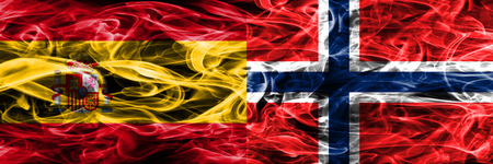Spain vs Norway smoke flags placed side by side. Thick colored silky smoke flags of Spanish and Norway
