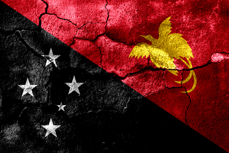Papua New Guinea rusted texture flag, rusty background