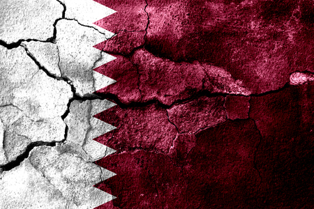 Qatar rusted texture flag, rusty background Stock Photo