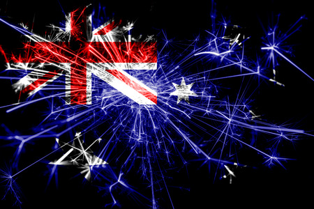 Australia fireworks sparkling flag. New Year 2019 and Christmas party concept