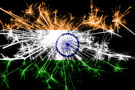 India fireworks sparkling flag. New Year 2019 and Christmas party concept