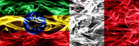 Ethiopia vs Malta, Maltese colorful smoke flags placed side by side