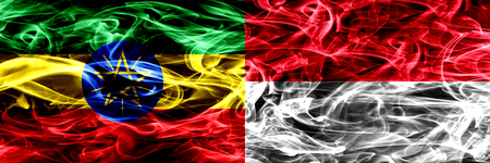 Ethiopia vs Monaco, Monacan colorful smoke flags placed side by side
