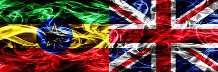 Ethiopia vs United Kingdom, British colorful smoke flags placed side by side