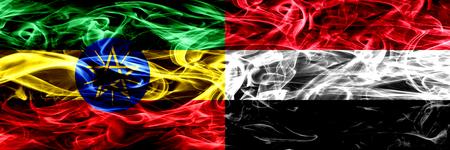Etiopía vs Yemen, coloridas banderas de humo de Yemen colocadas una al lado de la otra