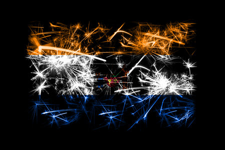 Albany, New York fireworks sparkling flag. New Year 2019 and Christmas party concept Stock Photo