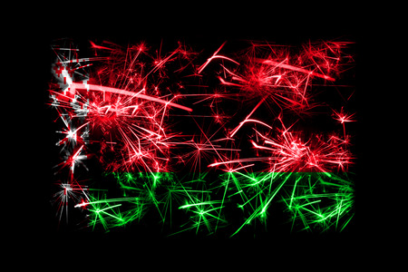 Belarus fireworks sparkling flag. New Year 2019 and Christmas party concept