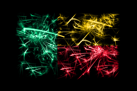 Benin fireworks sparkling flag. New Year 2019 and Christmas party concept Stock Photo