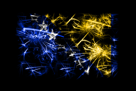 Bosnia and Herzegovina fireworks sparkling flag. New Year 2019 and Christmas party concept