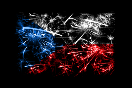 Czech Republic fireworks sparkling flag. New Year 2019 and Christmas party concept