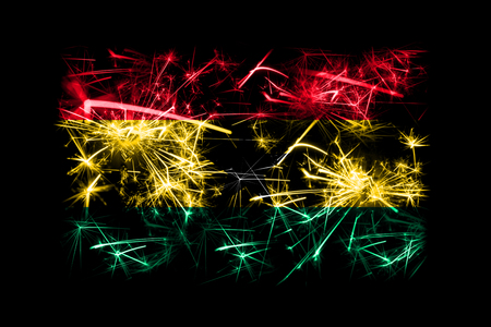 Ghana fireworks sparkling flag. New Year 2019 and Christmas party concept Stock Photo