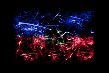 Haiti fireworks sparkling flag. New Year 2019 and Christmas party concept Stock Photo