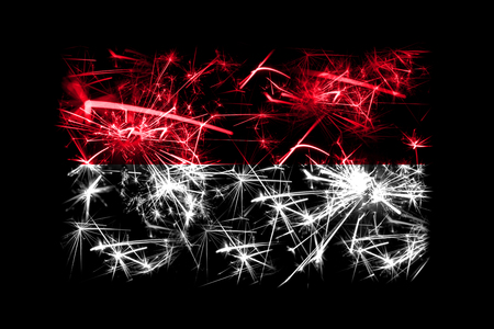 Monaco fireworks sparkling flag. New Year 2019 and Christmas party concept