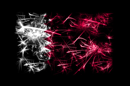 Qatar fireworks sparkling flag. New Year 2019 and Christmas party concept