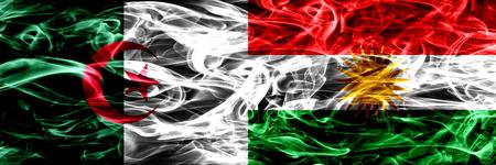 Algeria, Algerian vs Kurdistan, Kurdish smoke flags placed side by side. Concept and idea flags mix
