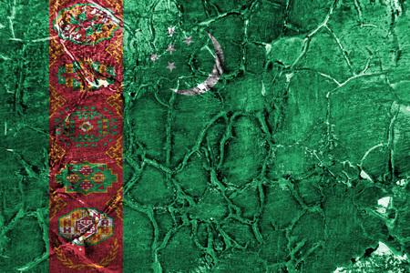 Old Turkmenistan grunge background flag Banco de Imagens