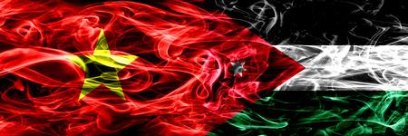 Socialist Republic of Viet Nam vs Jordan, Jordanian smoke flags placed side by side. Thick colored silky smoke flags of Vietnam and Jordan, Jordanian