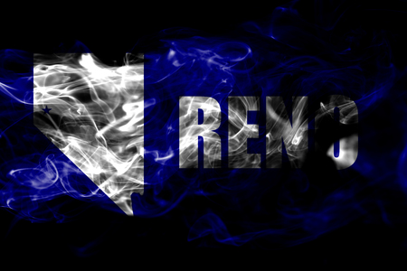 Reno city smoke flag, Nevada State, United States Of America Stock Photo