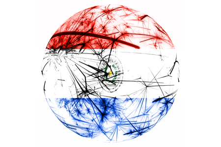 Paraguay fireworks sparkling flag ball. New Year, Christmas and National day ornament and decoration concept