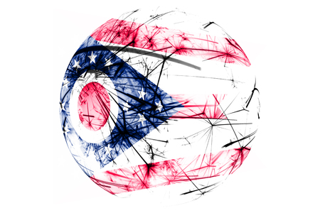 Ohio fireworks sparkling flag ball. New Year, Christmas and National day ornament and decoration concept