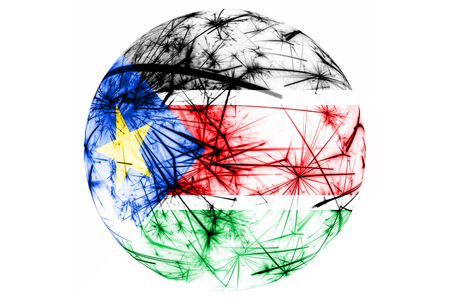 South Sudan fireworks sparkling flag ball. New Year, Christmas and National day ornament and decoration concept