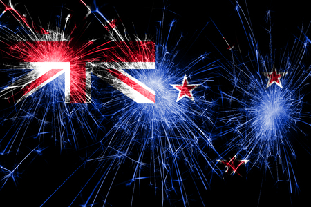 New Zealand fireworks sparkling flag. New Year, Christmas and National day concept