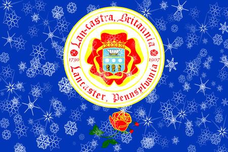 Lancaster, Pennsylvania winter snowflakes flag background. United States of America.
