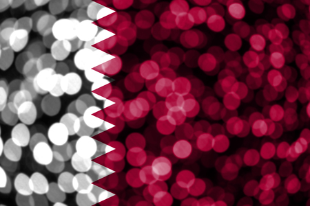 Qatar abstract blurry bokeh flag. Christmas, New Year and National day concept flag. 写真素材