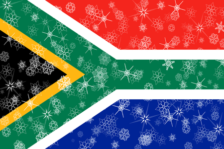 South Africa winter snowflakes flag background.