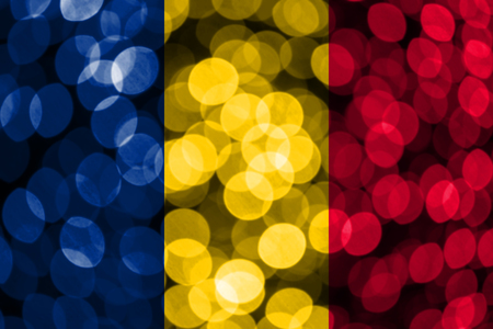 Chad abstract blurry bokeh flag. Christmas, New Year and National day concept flag.