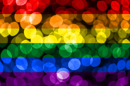 Gay abstract blurry bokeh flag. Christmas, New Year and National day concept flag.