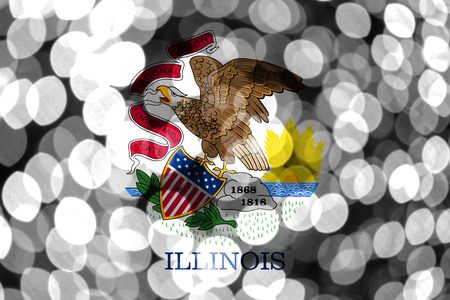Illinois abstract blurry bokeh flag. Christmas, New Year and National day concept flag. United States of America. Imagens - 119526846